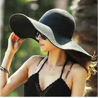Summer Women's Foldable Wide Large Brim Beach Sun Hat Straw Beach Cap For Ladies Elegant Hats Girls Vacation Tour Hat