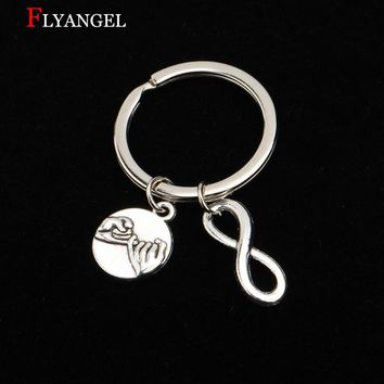 Customied Fashion Infinity Keyring Gifts Pinky Promise For Lovers' Couples Boyfriend Girlfriend Best Friend DIY Jewelry Keychain