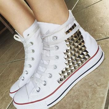 Custom Converse Studded High Tops; Chuck Taylors; ALL SIZES & COLORS! Studded Chucks;