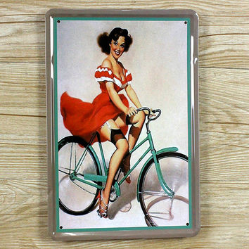 Metal tin signs retro Painting Sexy lady on bike Wall art retro poster Vintage house bar cafe decoration 20*30 CM