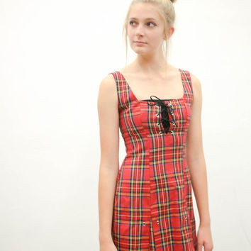 vtg 90's plaid corset dress, punk emo goth sexy 2015 red black, scottish 1990s vintage tumblr, urban outfitters, fashion vaporwave aesthetic