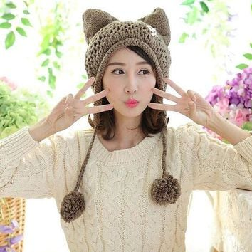 ICIKJG2 Very Cute Fox Ears Cat Ear New Women Winter Hat 100% Handmade Knitted Beanie Ear Muff Hat Cap