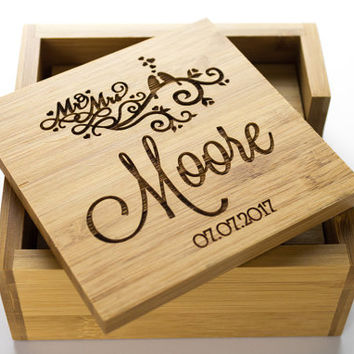 Personalized Coasters, Custom Bamboo Coasters, Engraved Coasters, Wedding Gift, Groomsmen Gift, Barware, Bamboo Coasters