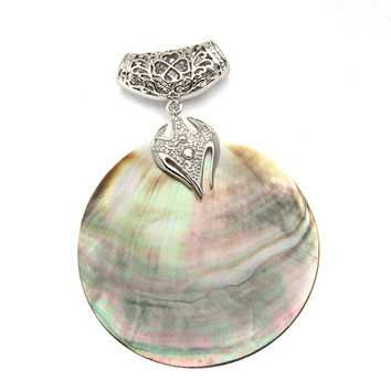 Vintage Big Natural Mother of Pearl Shell Pendant Antique Silver Plated Locket Paua Shell Pendants Charms Jewelry Findings F1151