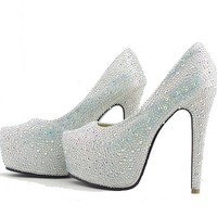 Silver Wedding Bridal Shoes Glitter Diamonds Platform Prom Party High Heels