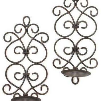 Iron Black Iron Scrollwork Candle Wall Sconces