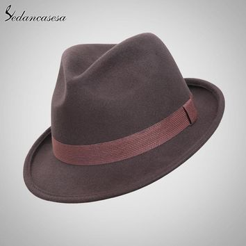 Sedancasesa New England Style Christmas Fedora Jazz Hat Men Women 100% Wool Female Male Trilby Cap Hats with ribbon FM026081