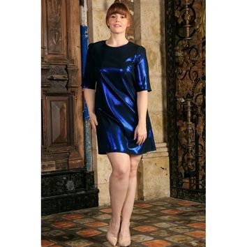 Blue Sparkly Metallic Sleeved Cocktail Club Sexy Curvy Dress