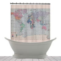 Shower Curtain - Vintage World Map - Home Decor - Bathroom - maps