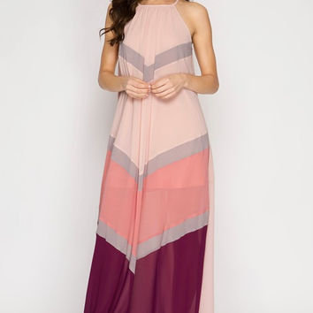 Summer Sunsets Color Block Maxi Dress - Peach and Magenta