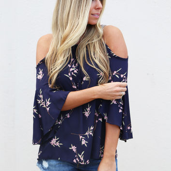 Spring Blossoms Top {Navy}