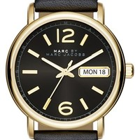 Women's MARC BY MARC JACOBS 'Fergus' Leather Strap Watch, 38mm - Black/ Gold