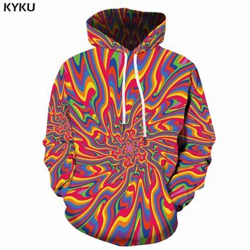 KYKU Psychedelic Hoodie Men Hip Hop Fantasy Hoodies Anime Colorful 3d Printed Sweatshirt Hooded Gothic Mens Clothing Autumn New
