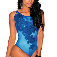 Blue Floral Embroidery Detail Sheer Mesh Bodysuit