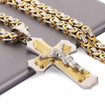 Multilayer Cross Jesus Christ Pendant Necklace Stainless Steel Link Byzantine Chain