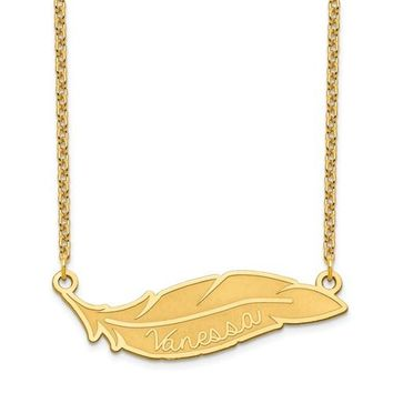 Personalized Feather Engraved Name Necklace