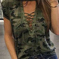 Lace Up Camouflage Printed Blouse - Fairyseason