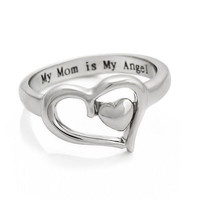 "Mothers Heart Ring ""My Mom is My Angel"" Purity Family Best Gift Infinity Ring Love"