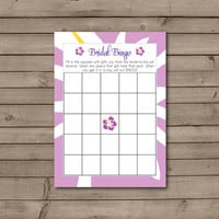 Purple Hawaiian Bridal Shower Bingo Cards