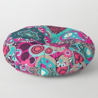 Boho Collage Pink Blue Floor Pillow by inspiredimages