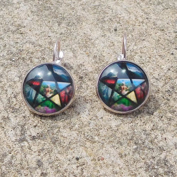 Pentacle Earrings for Pierced Ears Pagan Pentagram Pendant Wiccan Spiritual Jewelry Small Domed Silver Ear Wires