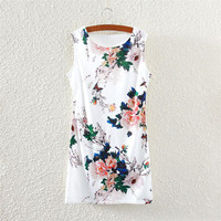 Summer Women's Fashion Round-neck Leaf Print Slim Sleeveless Vest One Piece Dress [4919327492]