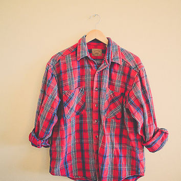 Plaid Red Blue Green Flannel  Men's Hipster Thick Cozy Northwest Seattle Style Preppy Size Men's Large L
