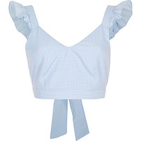 Blue gingham frill shoulder crop top - RI Limited Edition - Sale - women