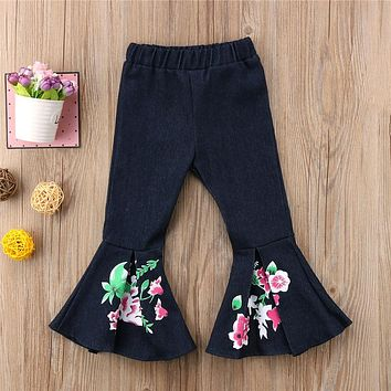 Toddler Kids Baby Girls Pants New Bell Bottoms Floral Print Long Pants Jeans Wide Leg Trousers Leggings Girls Costume