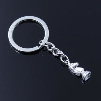 Cool new fashion men 30mm keychain DIY metal holder chain vintage chess knight pawn bishop king queen rook silver pendant GiftAT_93_12