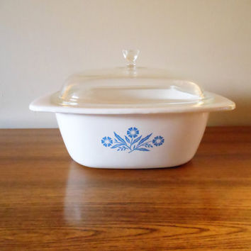 Corning Ware Dutch Oven, Corning Blue Cornflower Dutch Oven, Corning 4 Quart Dutch Oven, Corning P-34-B, Corningware Roaster Casserole