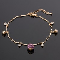 Womens Fashion Crystal Disco Ball Charm Gold Plated Anklet Ankle Bracelet