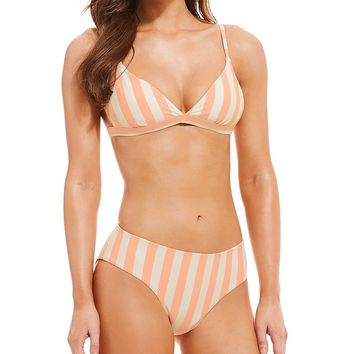 GB Beach Stripes Banded Triangle Top & Classic Swimsuit Bottom | Dillard's