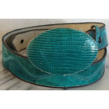 Turquoise Faux Leather Belt Snakeskin Emboss Removable Buckle Stitching Western