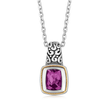 Amethyst Scrollwork Pendant With Gold Milgrain Detailing in Silver