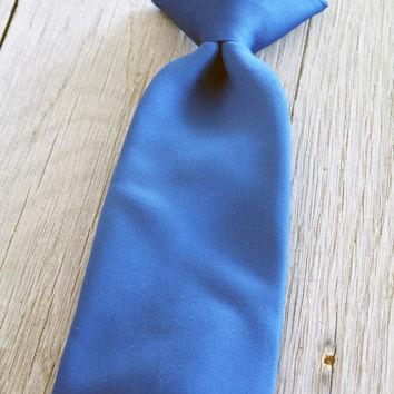 Vintage Clip on Tie Blue Necktie Corsair 1970s by LetterKay
