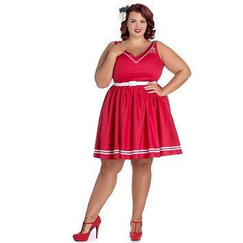 Hell Bunny Pin-up Sailor Anchor & Rope V-neck Ariel Red Flare Dress