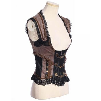 Vintage Victorian Steampunk Waist Cincher Corset Vest Trimming with Lace SP168