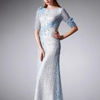 Embellished Mesh Mermaid Gown