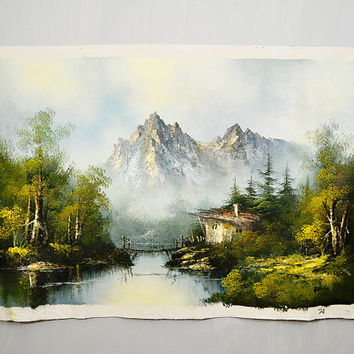 1960's Artist Signed Burke Souvenir Mountain Cabin Painting Large Free Canvas