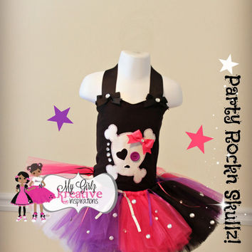 Party Rockn Pirate Skullz Tutu Outfit- Rock Star - Pop Star - Rock and Roll Tutu - Monster High Birthday Party - Skulls - Neon 80's 12mos-5T