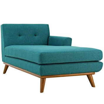 Engage Left-Arm Upholstered Chaise, Teal -Modway
