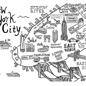 New York Map Black And White.Best New York City Print Maps Products On Wanelo