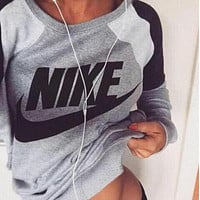 Fashion Letter Print Round Neck Top Pullover Sweater Sweatshirt F