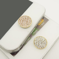 BEST SELLER 1PC Paved Bling Crystal Alloy Circle Jewel iPhone Home Button Sticker Charm for iPhone 4,4s,4g,5,5c Cell Phone Charm Lover Gift