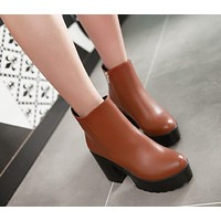 Ankle Boots for Women Platform High Heels Thick Heel Pu Leather Autumn Winter Shoes Woman 3829