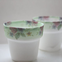 Small planter from fine bone china with green and vintage flowers illustrations - illustrated ceramics