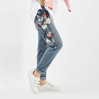 Chicanary Floral Embroidered Mom Jeans Women High Rise Bleach Cropped Straight Denim Pants