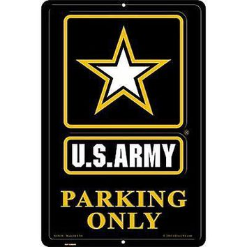 Army BLACK Large Parking Sign Metal Embossed Aluminum Emblem US United States