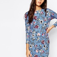 Influence | Influence Oriental Floral Boxy Shift Dress With 3/4 Sleeve at ASOS